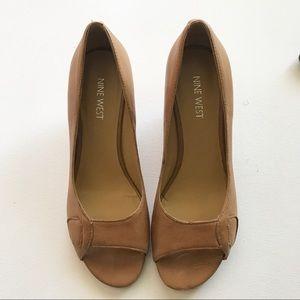 Nine West Tan Peep Toe Heeled Wedges Size 6.5